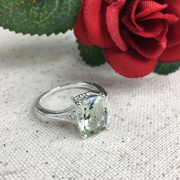 Kaki Jo's Closet Jewelry - Green Amethyst CZ Diamond Sterling Ring